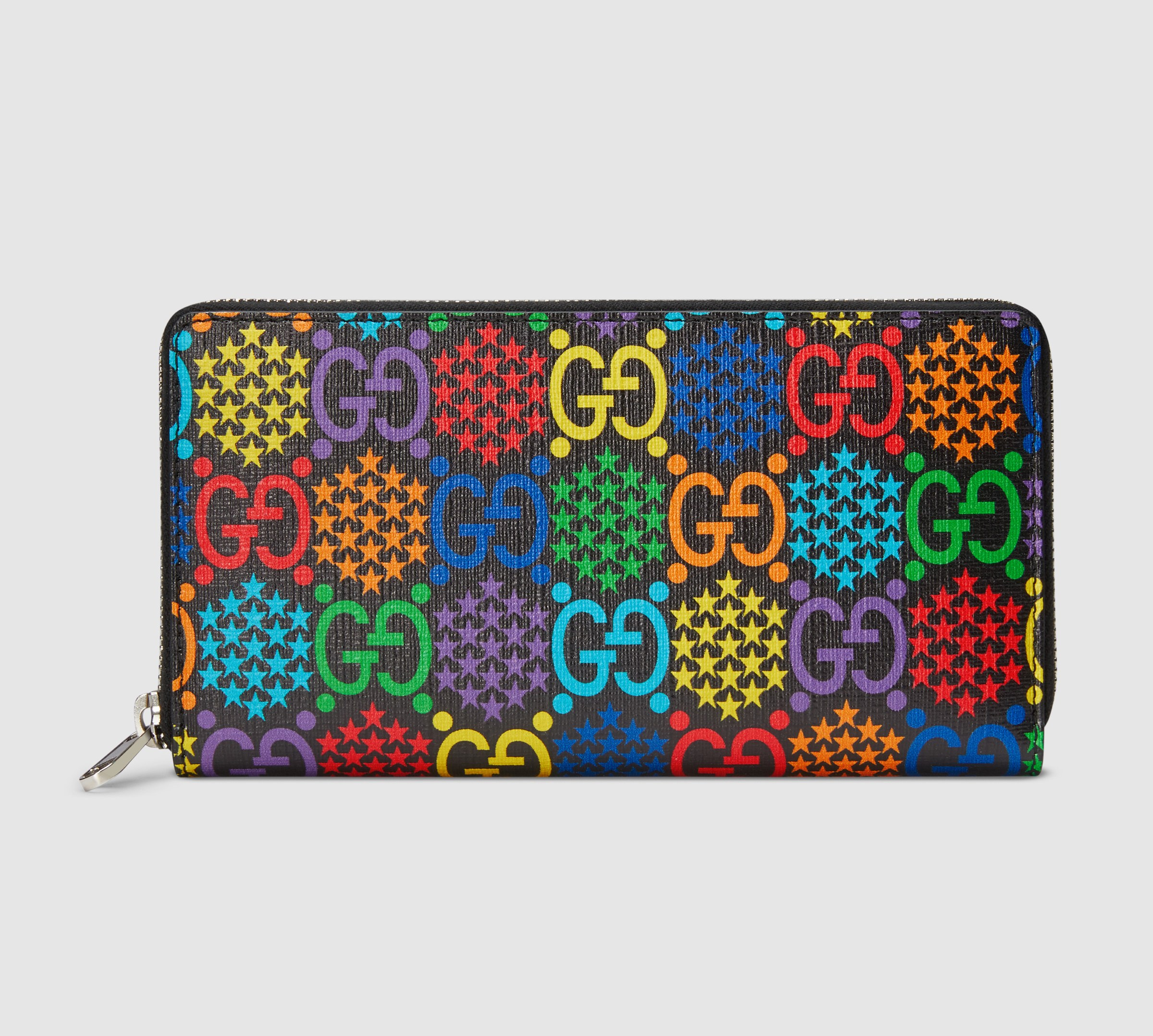 Gucci GG Psychedelic Zip Around Wallet 601079 Black Leather Trim
