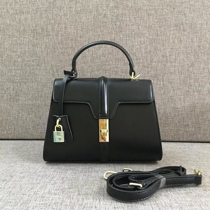 Celine 16 Satinated Calfskin Small Bag 188003 Black