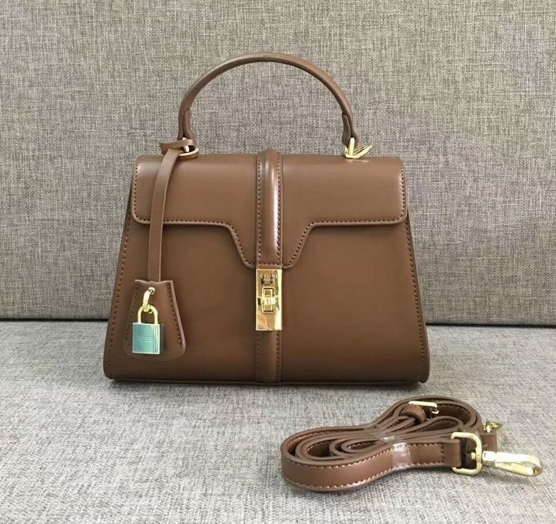 Celine 16 Satinated Calfskin Small Bag 188003 Brown
