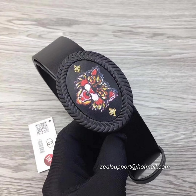 0352134630f 100  Gucci Leather Belt with Painted Angry Cat Buckle 474287 Black ...