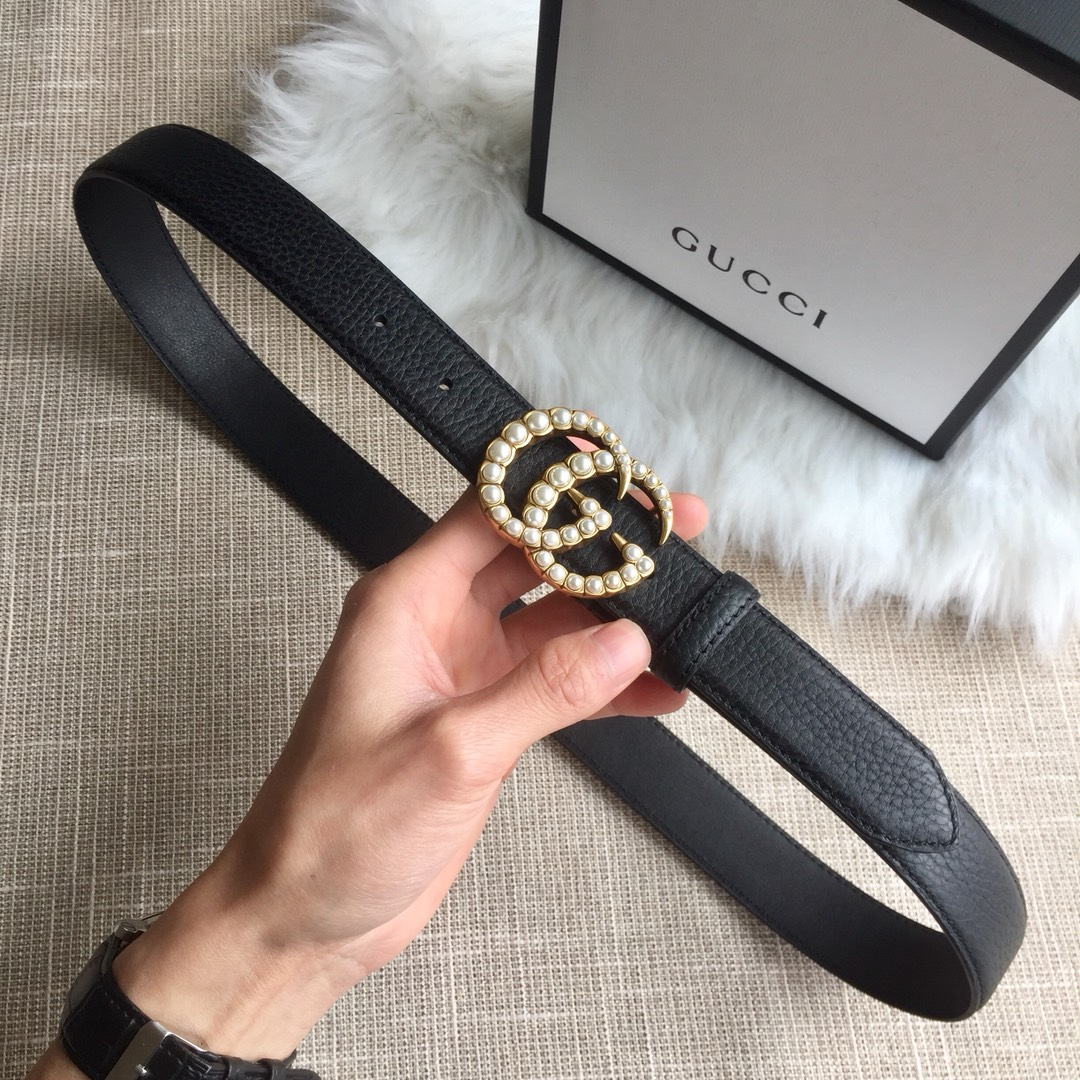 0be134ae8 Gucci Leather Belt with Pearl Double G 453260A Black [453260A Black ...