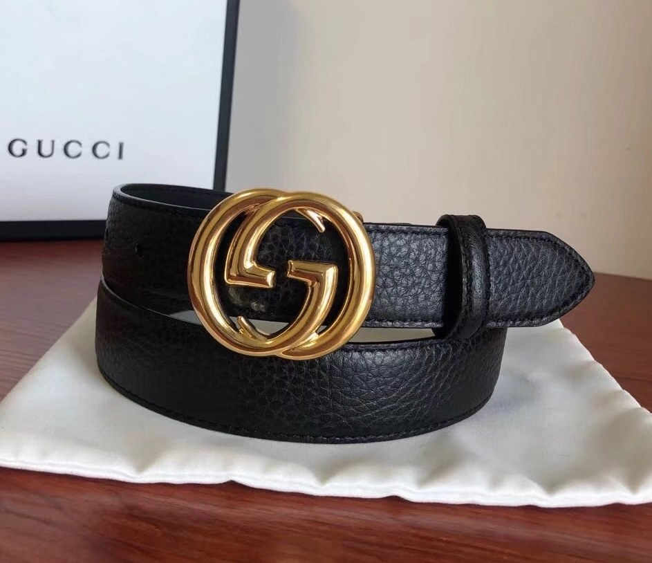Gucci Leather Belt with Interlocking G Buckle 474345-1