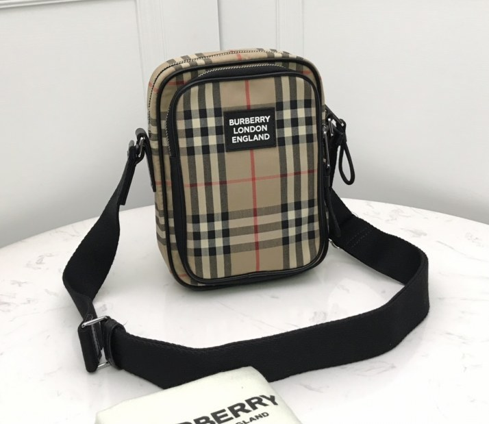 Burberry Vintage Check and Leather Crossbody Bag 80233811 Archive Beige