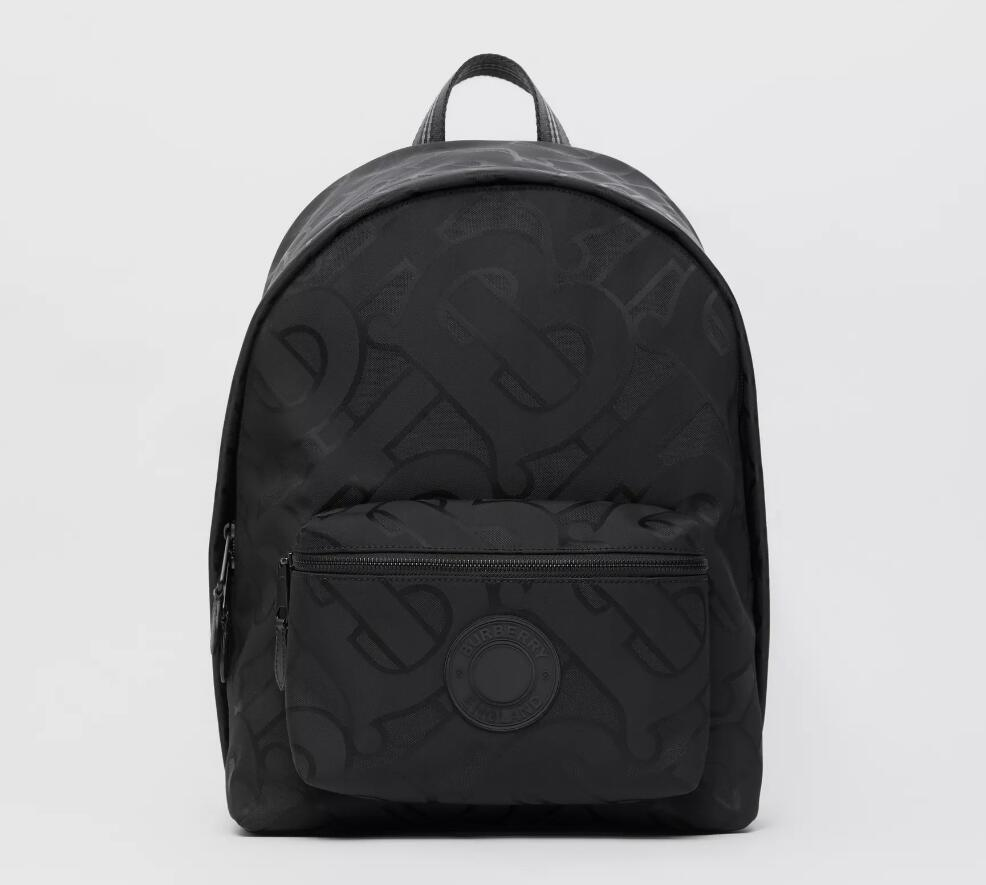 Burberry Monogram Recycled Polyester Jacquard Backpack 80307141 Black