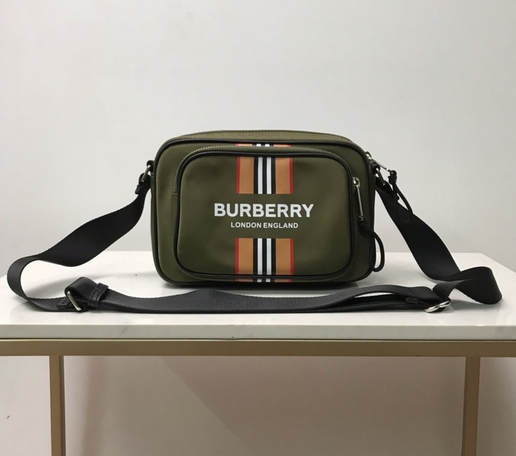 Burberry Logo Icon Stripe Print Econyl Crossbody Bag 80357671 Dark Olive Green