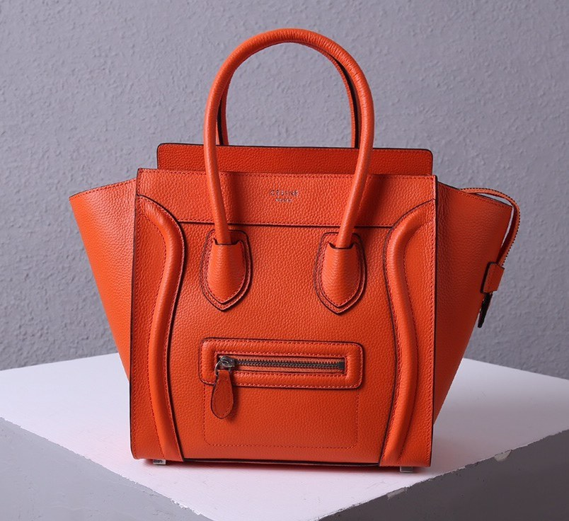 Celine Mini Luggage Drummed Calfskin Bag 3308 Orange