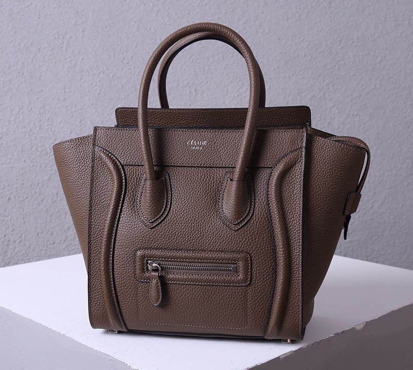 Celine Mini Luggage Drummed Calfskin Bag 3308 Coffee