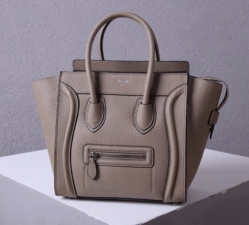 Celine Mini Luggage Drummed Calfskin Bag 3308 Grey