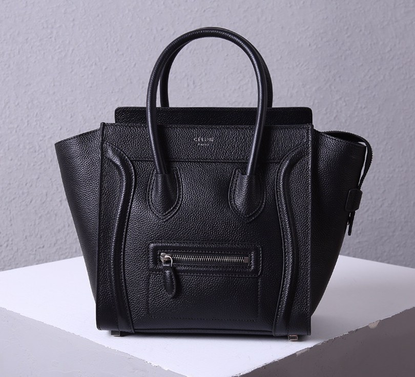 Celine Mini Luggage Drummed Calfskin Bag 3308 Black