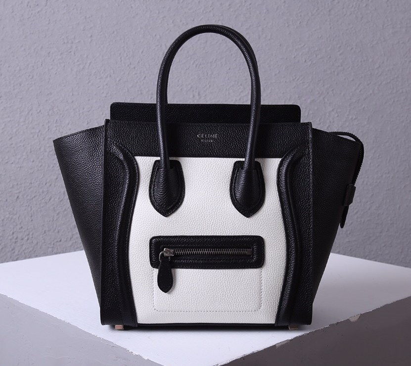 Celine Mini Luggage Drummed Calfskin Bag 3308 Black&White