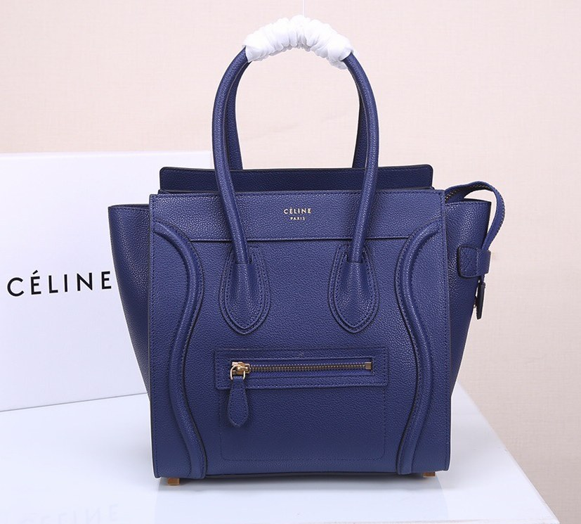 Celine Mini Luggage Drummed Calfskin Bag 3308 Blue