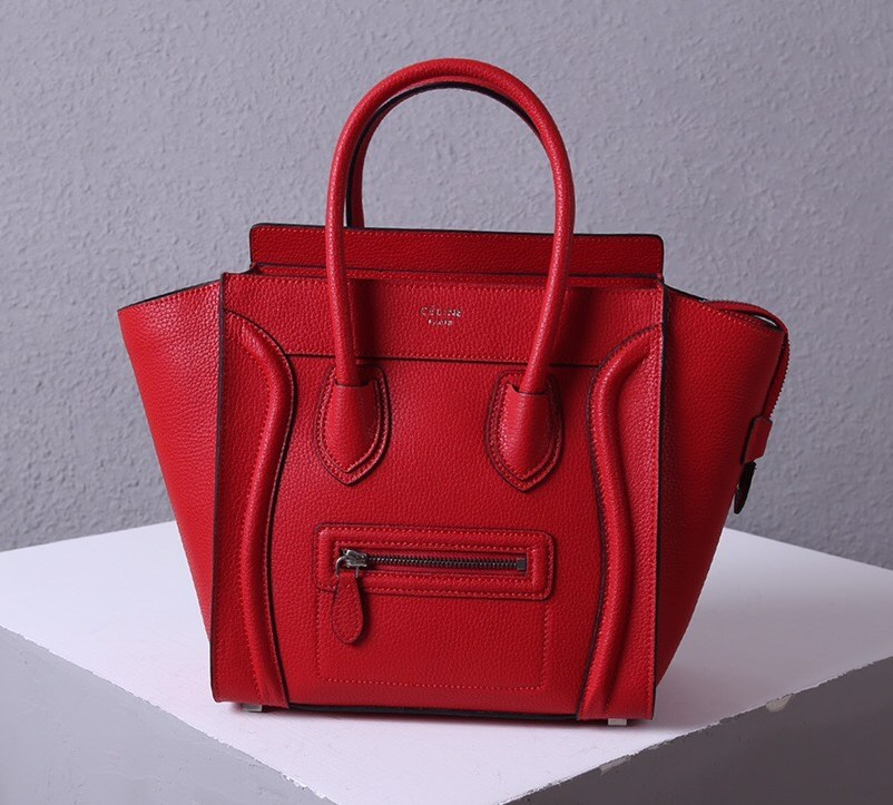 Celine Mini Luggage Drummed Calfskin Bag 3308 Red