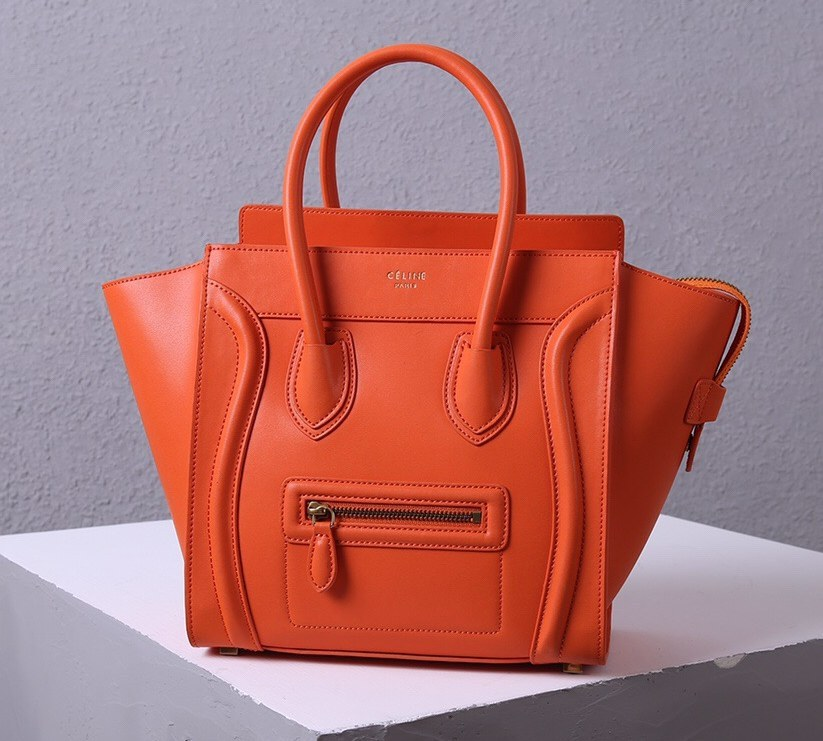 Celine Mini Luggage Smooth Calfskin Bag 3308 Orange