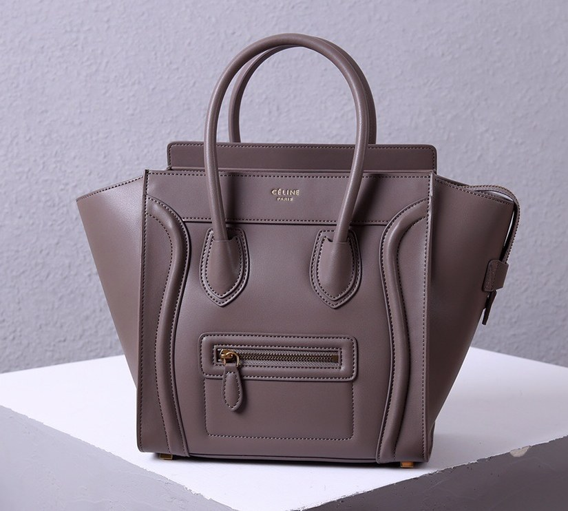 Celine Mini Luggage Smooth Calfskin Bag 3308 Grey