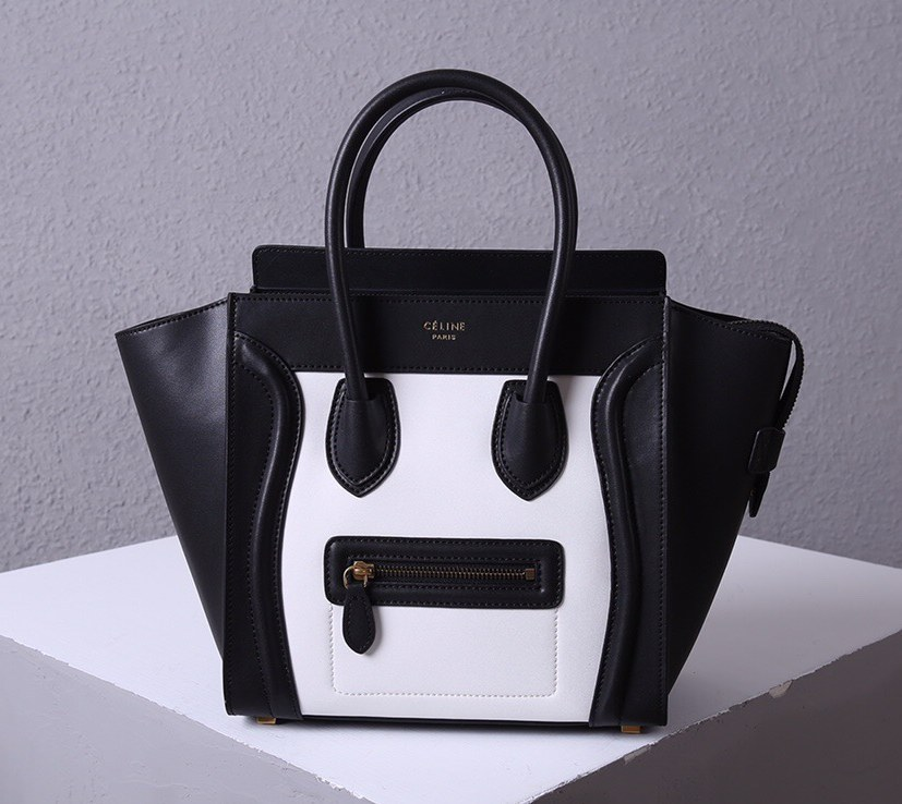Celine Mini Luggage Smooth Calfskin Bag 3308 Black&White