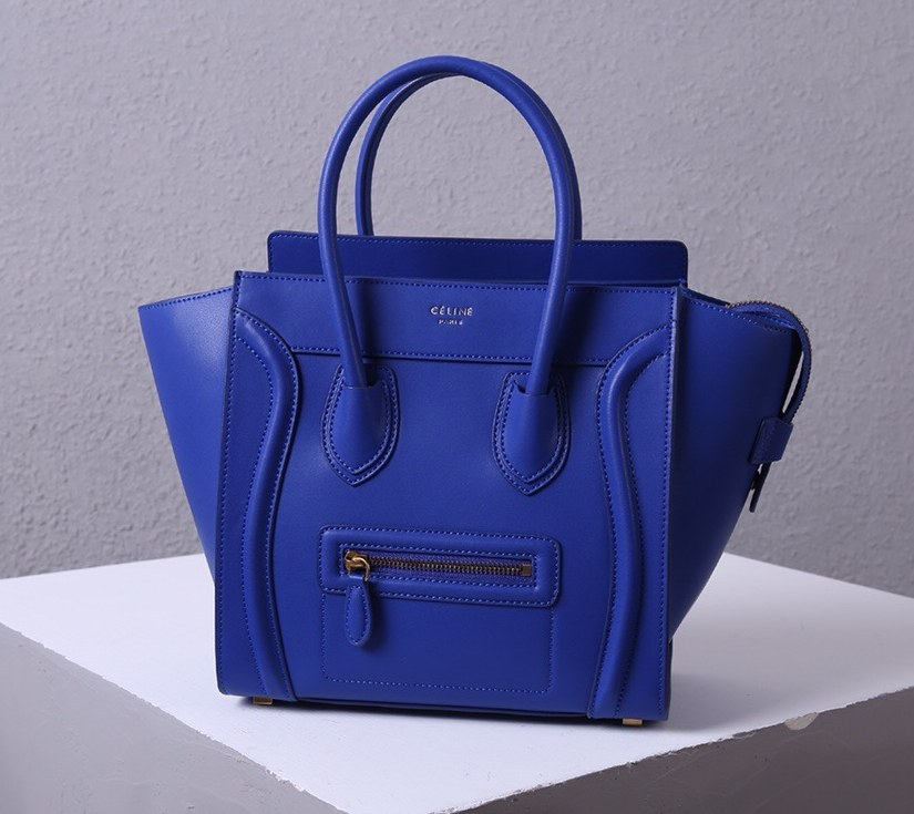 Celine Mini Luggage Smooth Calfskin Bag 3308 Blue