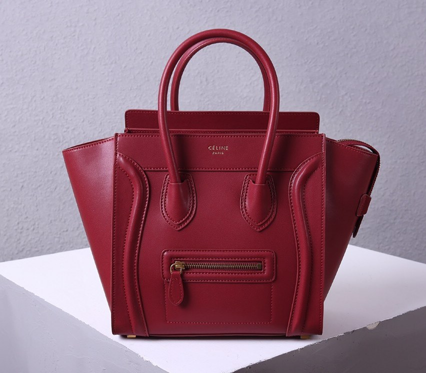 Celine Mini Luggage Smooth Calfskin Bag 3308 Wine