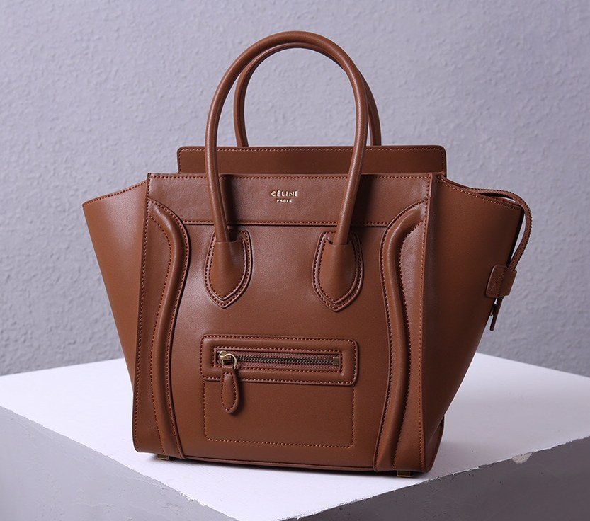Celine Mini Luggage Smooth Calfskin Bag 3308 Brown