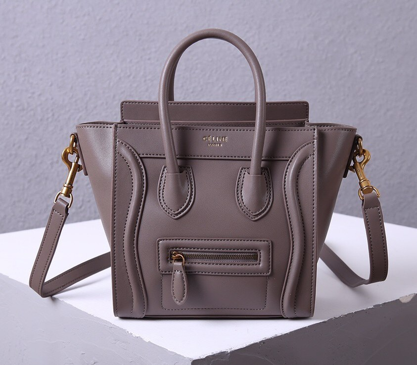 Celine Nano Luggage Smooth Calfskin Bag 3309 Grey