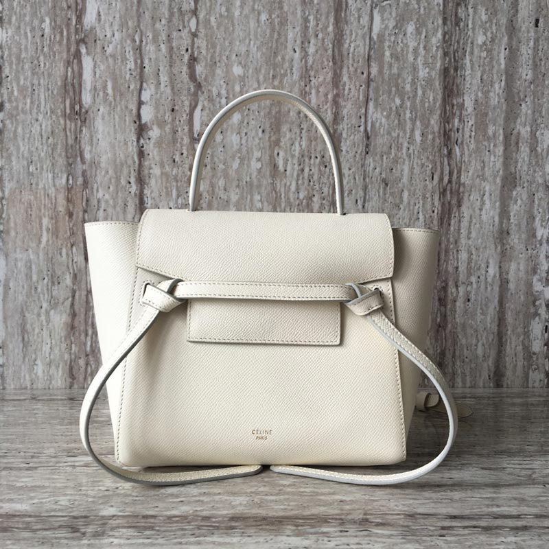 Celine Belt Nano Grained Calfskin Crossbody Bag 185003 White
