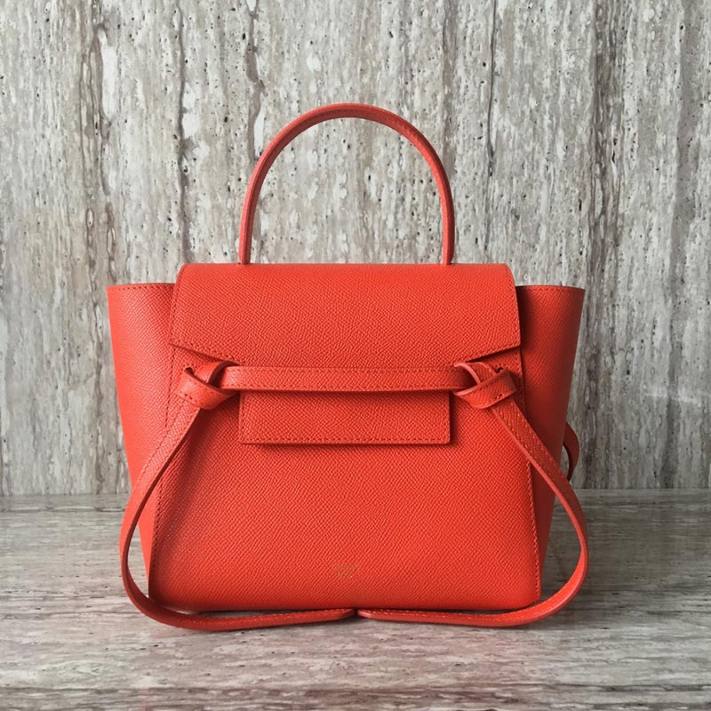 Celine Belt Nano Grained Calfskin Crossbody Bag 185003 Orange