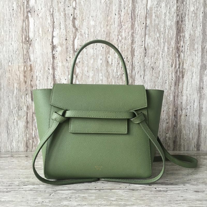Celine Belt Nano Grained Calfskin Crossbody Bag 185003 Fruit Green
