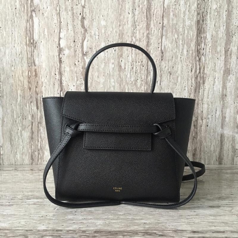 Celine Belt Nano Grained Calfskin Crossbody Bag 185003 Black