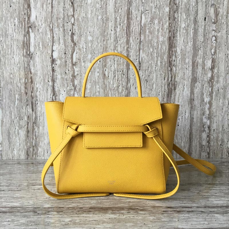 Celine Belt Nano Grained Calfskin Crossbody Bag 185003 Yellow