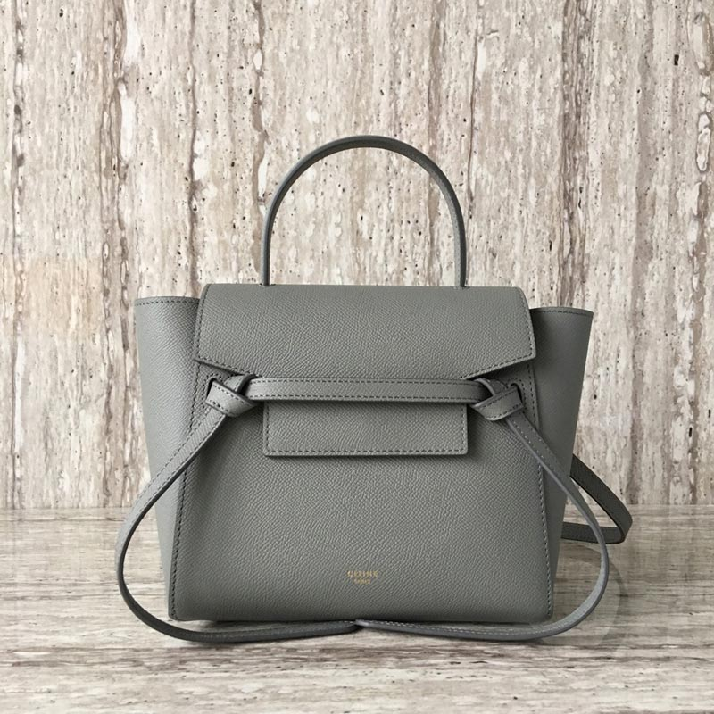Celine Belt Nano Grained Calfskin Crossbody Bag 185003 Light Grey
