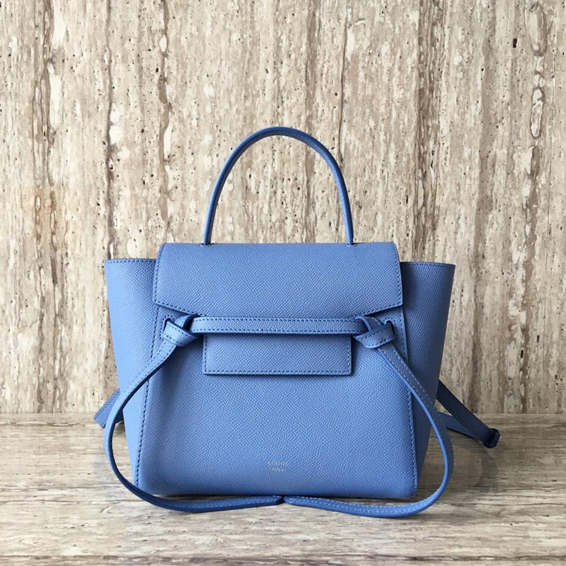Celine Belt Nano Grained Calfskin Crossbody Bag 185003 Skyblue