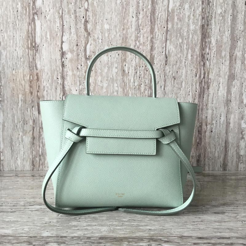 Celine Belt Nano Grained Calfskin Crossbody Bag 185003 Light Green