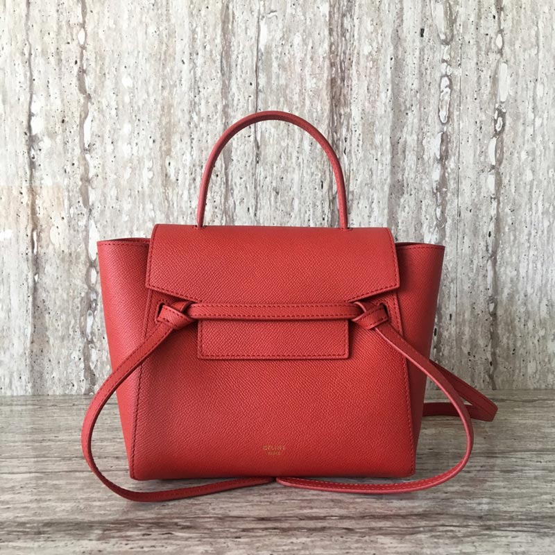Celine Belt Nano Grained Calfskin Crossbody Bag 185003 Red