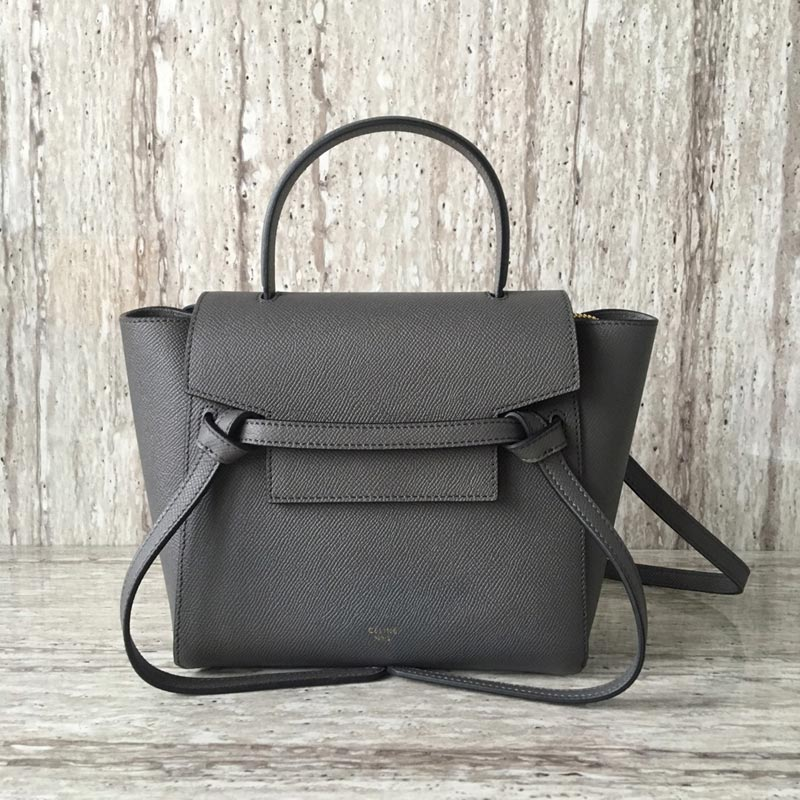 Celine Belt Nano Grained Calfskin Crossbody Bag 185003 Grey