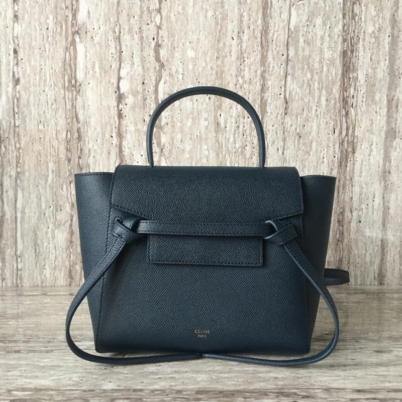 Celine Belt Nano Grained Calfskin Crossbody Bag 185003 Atrovirens