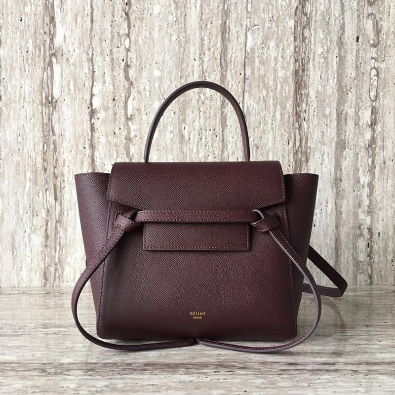 Celine Belt Nano Grained Calfskin Crossbody Bag 185003 Wine