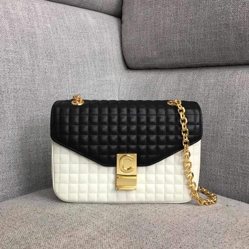 Celine C Medium Quilted Calfskin Crossbody Bag 187253B White&Black