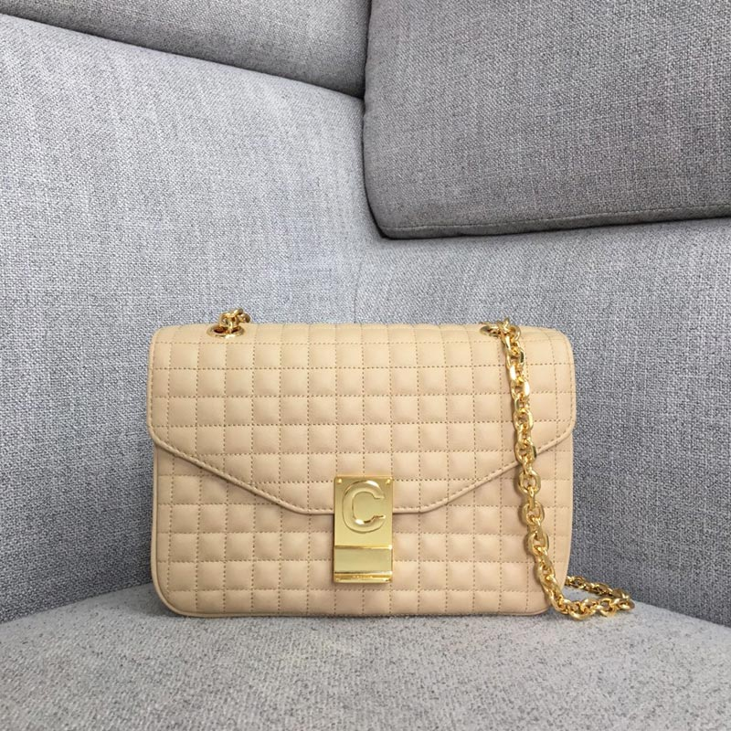 Celine C Medium Quilted Calfskin Crossbody Bag 187253B Nude
