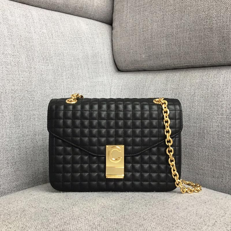 Celine C Medium Quilted Calfskin Crossbody Bag 187253B Black