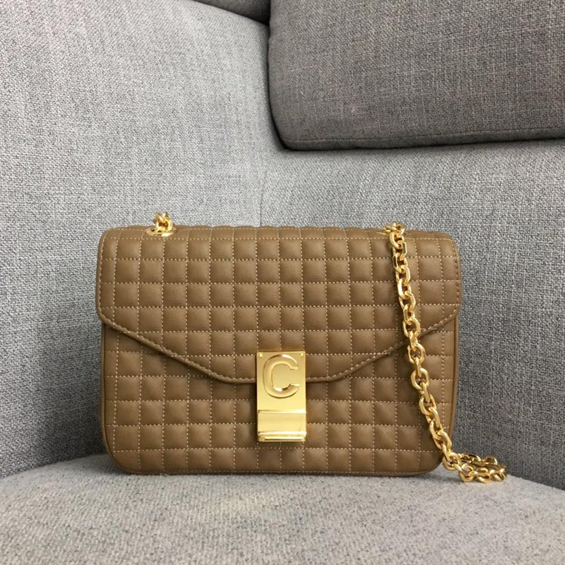 Celine C Medium Quilted Calfskin Crossbody Bag 187253B Camel