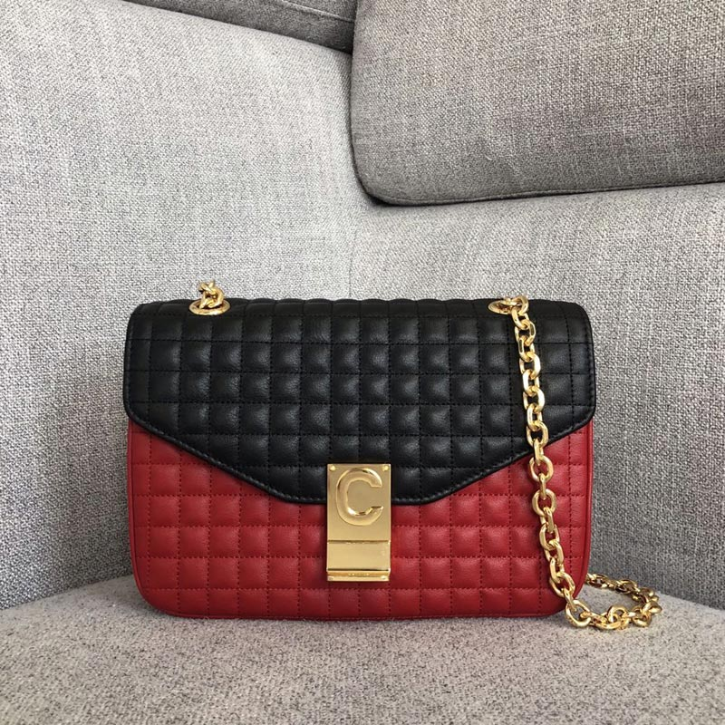 Celine C Medium Quilted Calfskin Crossbody Bag 187253B Red&Black
