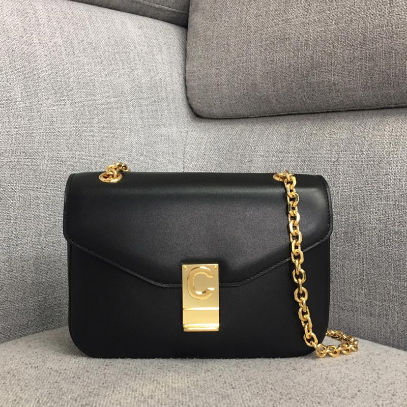 Celine C Medium Shiny Calfskin Crossbody Bag 187253 Black