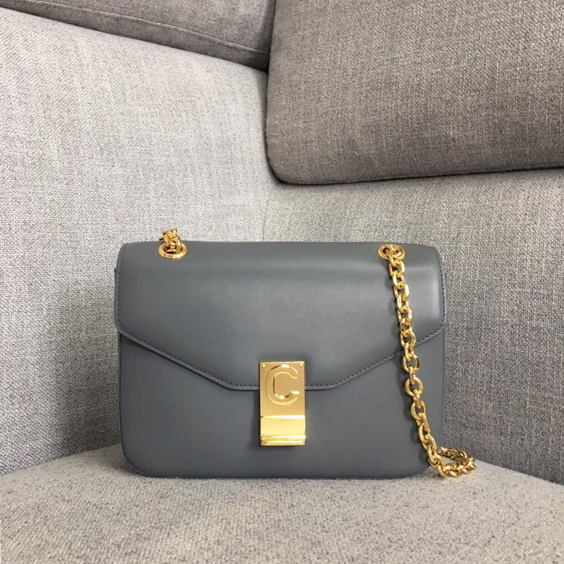 Celine C Medium Shiny Calfskin Crossbody Bag 187253 Grey