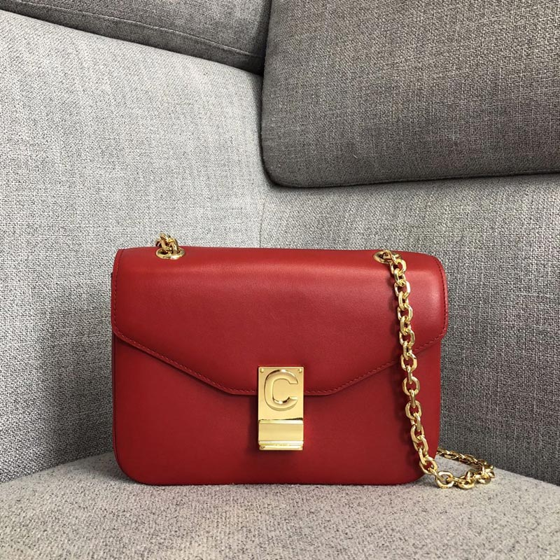 Celine C Medium Shiny Calfskin Crossbody Bag 187253 Red