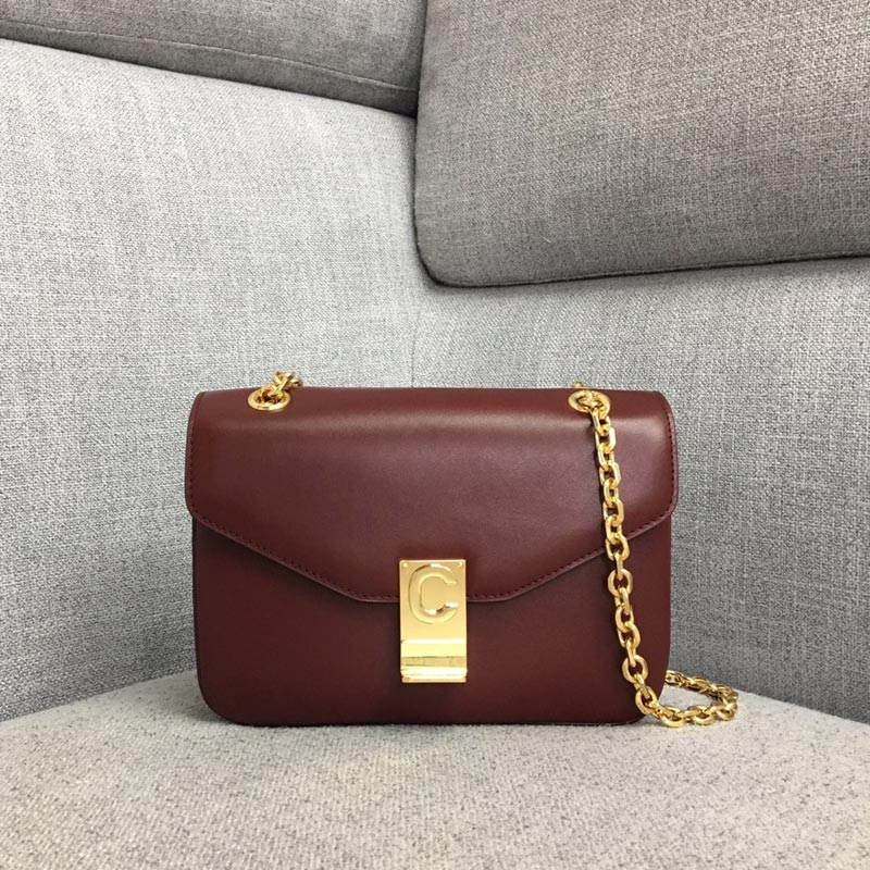 Celine C Medium Shiny Calfskin Crossbody Bag 187253 Burgundy