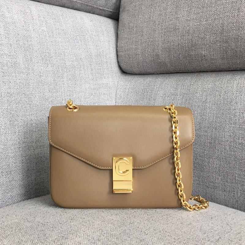 Celine C Medium Shiny Calfskin Crossbody Bag 187253 Apricot