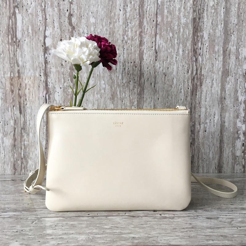 Celine Trio Smooth Lambskin Crossbody Bag 187603 White