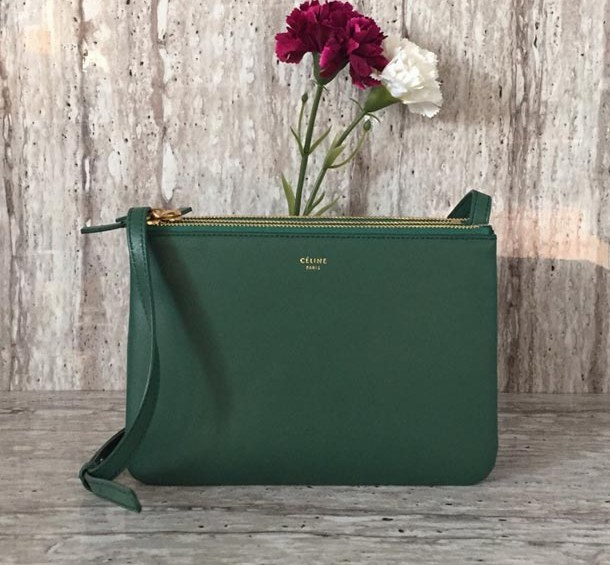 Celine Trio Smooth Lambskin Crossbody Bag 187603 Green