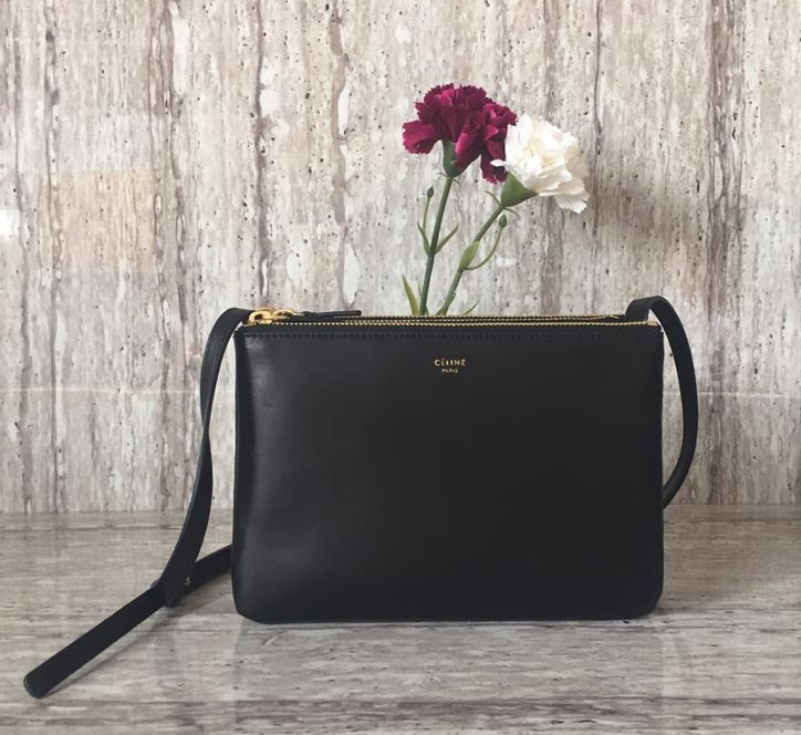 Celine Trio Smooth Lambskin Crossbody Bag 187603 Black