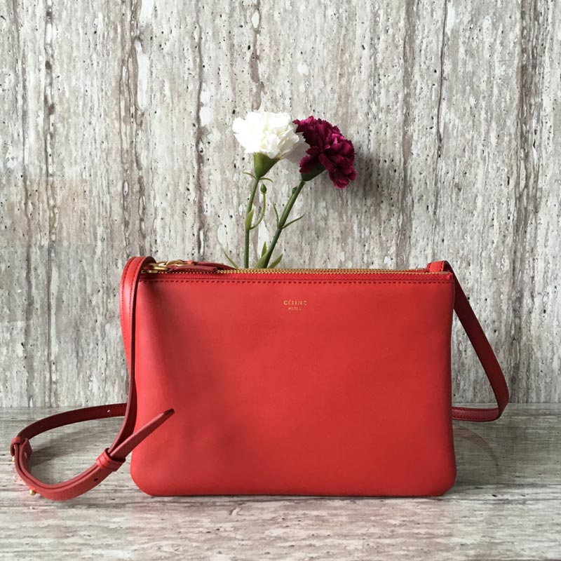 Celine Trio Smooth Lambskin Crossbody Bag 187603 Red