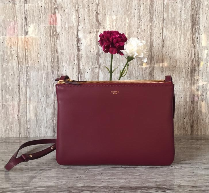 Celine Trio Smooth Lambskin Crossbody Bag 187603 Light Burgundy